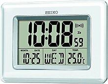 Seiko QHL058W Horloge Digitale écran LCD Blanc