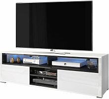 Selsey MARIO - Meuble TV / Banc TV (blanc / noir,