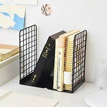 Serre-livres en métal à grille créative,