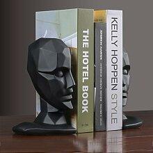 Serre-livres Vintage en résine, visage humain,