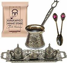 Service à café arabe turc et grec en bronze -