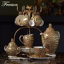 Service à café en porcelaine à motif léopard,