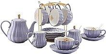 Service à thé 22 pièces en porcelaine violette