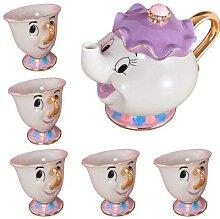 Service à thé de dessin animé la belle et la