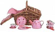 Service à thé  en metal coccinelle dans panier