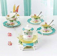 Service à thé rouge en céramique avec