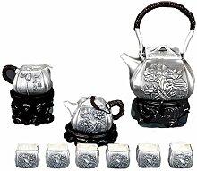 Service à thé tibétain en argent sterling S999