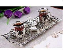 Service à thé turc en argent pour deux verres à