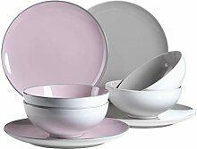 Service de table dîner, Rouge/gris, Tafelservice