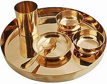 Service de table Thali traditionnel en bronze pur
