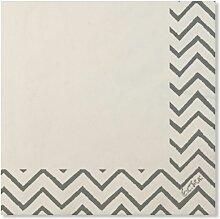 Serviette de table 33X33 Papier Blanc/Argenté