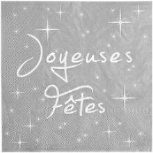 Serviette de table joyeuses fêtes Argent (x20)