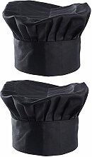 SERWOO 2PCS Toques Noires en Polyester-Coton