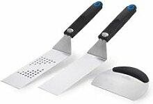 Set 3 ustensiles à plancha: 2 spatules flexibles