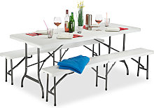 Set 3x Meubles 1 Table & 2 Bancs Pliants, Uni,