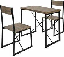 Set de 1 table + 2 chaises table à manger table