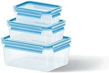 Set de 3 boîtes Clip & Close bleues 0,55L, 1L et