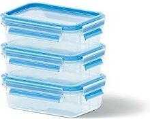 Set de 3 boîtes Clip & Close bleues 0,55L Emsa