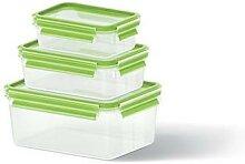 Set de 3 boîtes Clip & Close vertes 0,55L, 1L et
