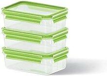 Set de 3 boîtes Clip & Close vertes 0,55L Emsa