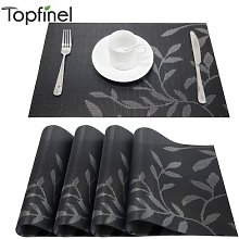Set de 4 napperons à motif de fleurs en PVC, Set