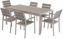 Set de jardin 6 places en aluminium et bois