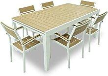 Set de table avec 6 chaises de jardin extensibles,