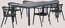 Set de table en aluminium (210X100 cm) Marti et 6