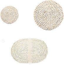 Set de table rond ovale en rotin naturel et paille