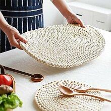 Sets de table ronds en rotin naturel tissé pour