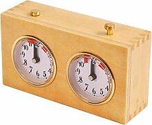 SFNTION Horloge d'échecs analogique en bois