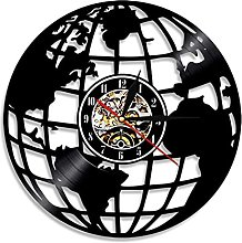 SFTWEAD Disque Vinyle Art Mural Horloge Carte du