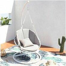 Shella - fauteuil suspendu polyester blanc gris