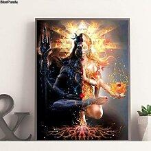 Shiva – impression sur toile sombre et clair,