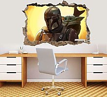SHUBING Baby Yoda 3D Smashed Wall Sticker Decal