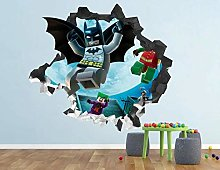 SHUBING Bat Smashing Wall Decal autocollant 3d