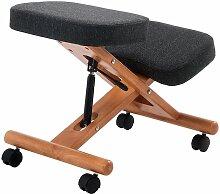 Siège assis-genoux Deluxe - piétement bois, gris