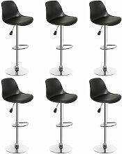 SiFree®Lot de 6 tabourets de bar design noir