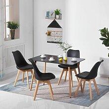 Sifree - Table et 4pcs chaise noir à Manger