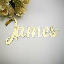 Signe de nom miroir personnalisé en or, décor de