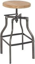 Silpa - tabouret de bar pieds métal et assise bois