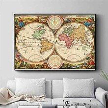 Simayi Carte du Monde Affiche Vintage Affiches Et