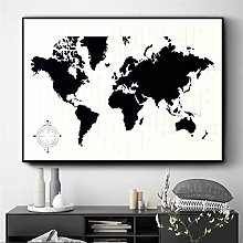Simayi Carte du Monde Noir Et Blanc Oeuvre