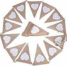 SIMUER Banderole Drapeau Triangle Amour Burlap