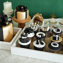 Simulation de gâteau, dessert noir et blanc,