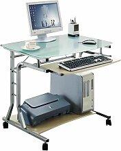 SIX - Bureau Informatique - Roulant - verre/érable