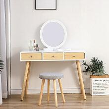 Skecten - Coiffeuse avec Miroir et Tabouret Table