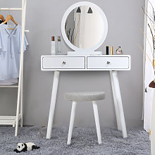 Skecten - Coiffeuse Design 2 Tiroir Miroir Rond