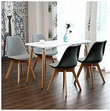 Skecten - Ensemble Table à Manger Blanche + 4