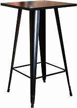 Skecten - Table haute carrée en bois et